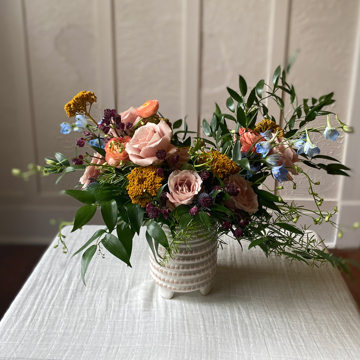 wildflower floral arrangement soft color palette